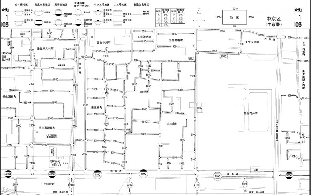 京都の路線価図 中京区