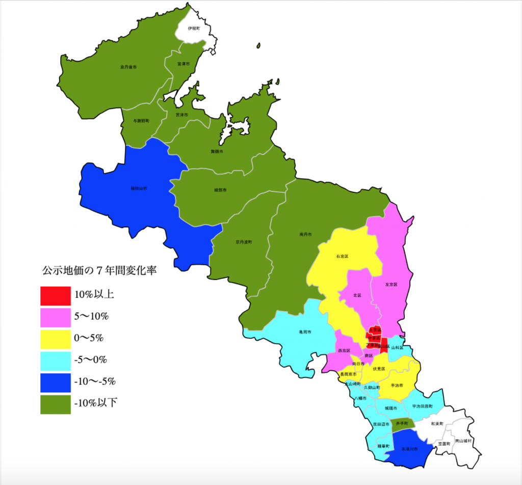 京都府地価増減マップ